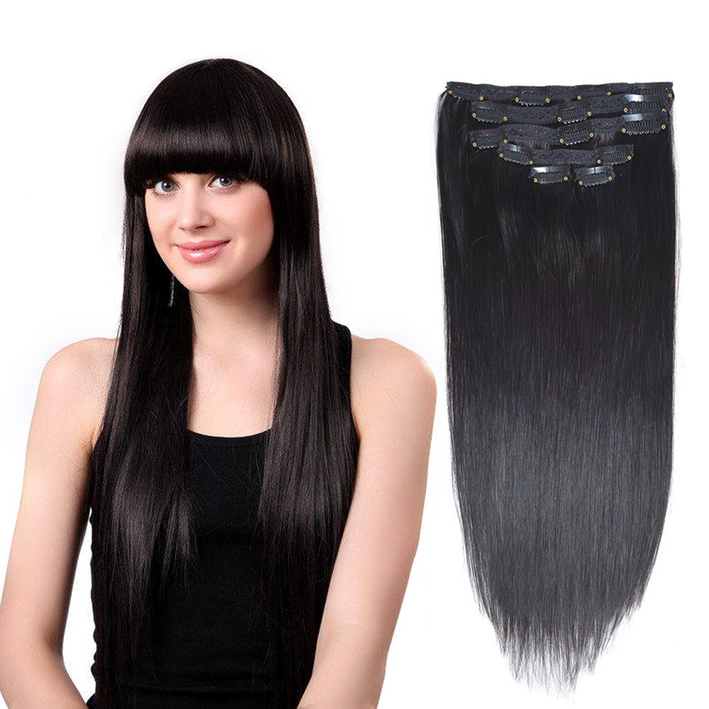 Amazon 18 Clip In Remy Human Hair Extensions Jet Black1