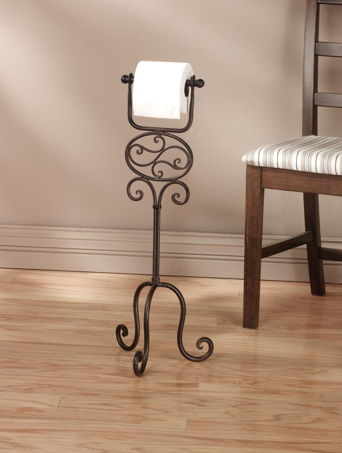 Toilet Paper Floor Stand, Elegant and artiscally designed scroll work, Solid, Functional and simply beautiful