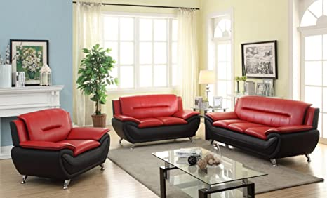 Amazing Discountsland Modern Contemporary Luxury Faux Leather 3 1 1 Or 3 2 1 Seater Full Sofa Set 3 Colour Choices Red Black 3 2 1 Theyellowbook Wood Chair Design Ideas Theyellowbookinfo