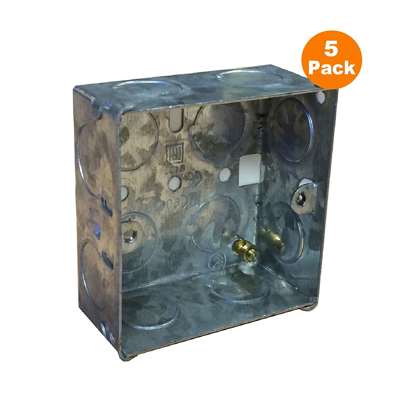 5 x Single Metal Back Box 35mm Flush Wall Pattress / 1 Gang Electrical Sockets Home.smart