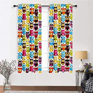 """Interestlee Blackout Curtains Owls Home Decor Collection Rod Pocket Curtain Panels Owls with Different Expressions Winking Looking Sleeping Colorful Playful Image 2 Panels 72"""" x 84"""" Yellow Aqua Green"""