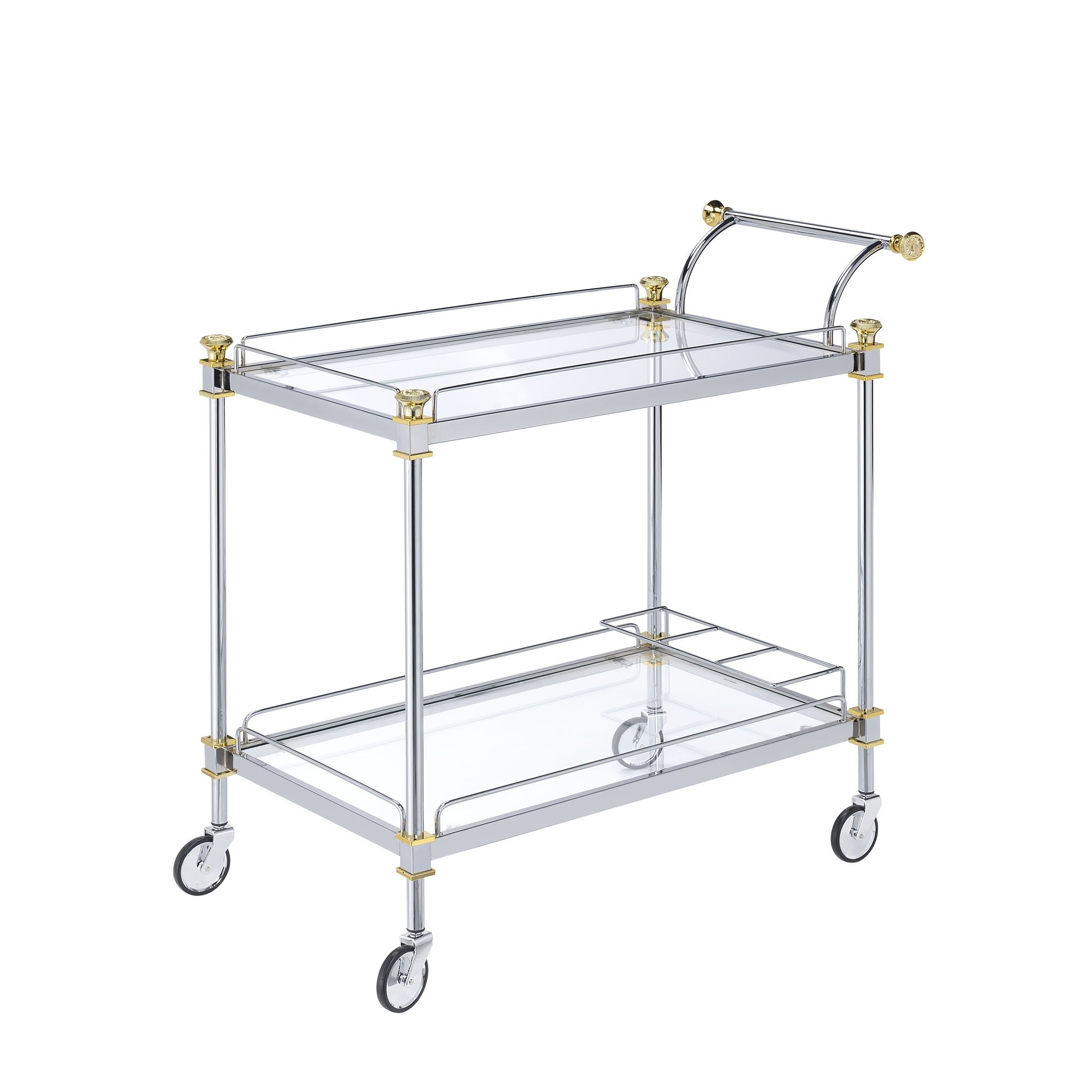 Klikel Silver Rolling Bar Cart With Glass Design - Two Tier Rolling Serving Carts For Kitchen, Home Decor And Drinks