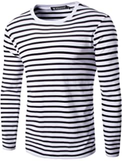 8e5cb2a5c0542f uxcell Men Casual Pullover Basic Crew Neck Long Sleeve Striped Tee T Shirt