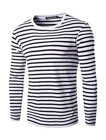 uxcell Allegra K Men Crew Neck Striped Long Sleeves Cotton/Spandex ...