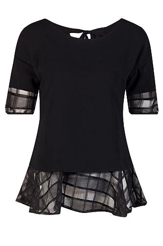 Beauty7 Elegante 3/4 Mangas Cuello Redondo Arco Hueco Encaje Negro Blanco Blusas Mujer Camisetas Ver...