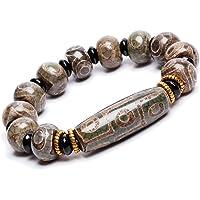 ZenBless Natural Green Tibetan 9/3 Eye Dzi Beads Bracelet Fengshui Amulet Bangle Attract Positive Energy and Good Luck