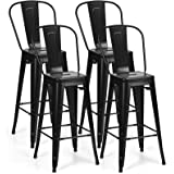 COSTWAY Metal Bar stools Set of 4, with Removable Back, Cafe Side Chairs with Rubber Feet, Stylish and Modern Chairs, for Kit