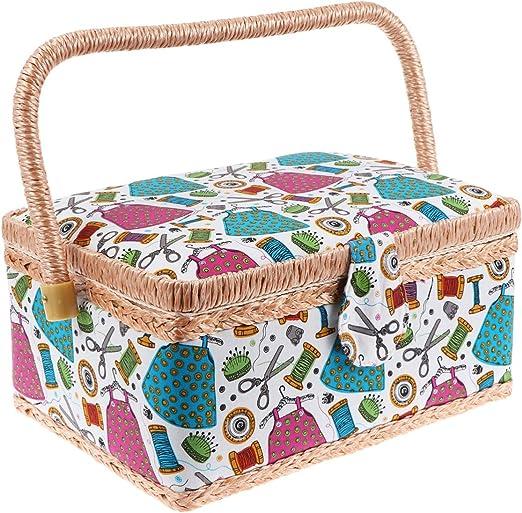 Artibetter Cesta de Costura Caja de Costura Caja de Organizador de Máquina de Coser Agujas de Tejer Caja Accesorios de Costura para Tienda Dormitorio Hogar: Amazon.es: Hogar