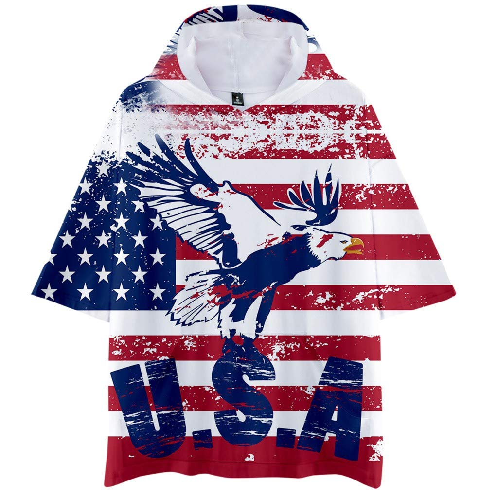 Men Summer Fsashion Hooded Flag Printed Sports Shirts Pure Large Size Male Blouse Tops