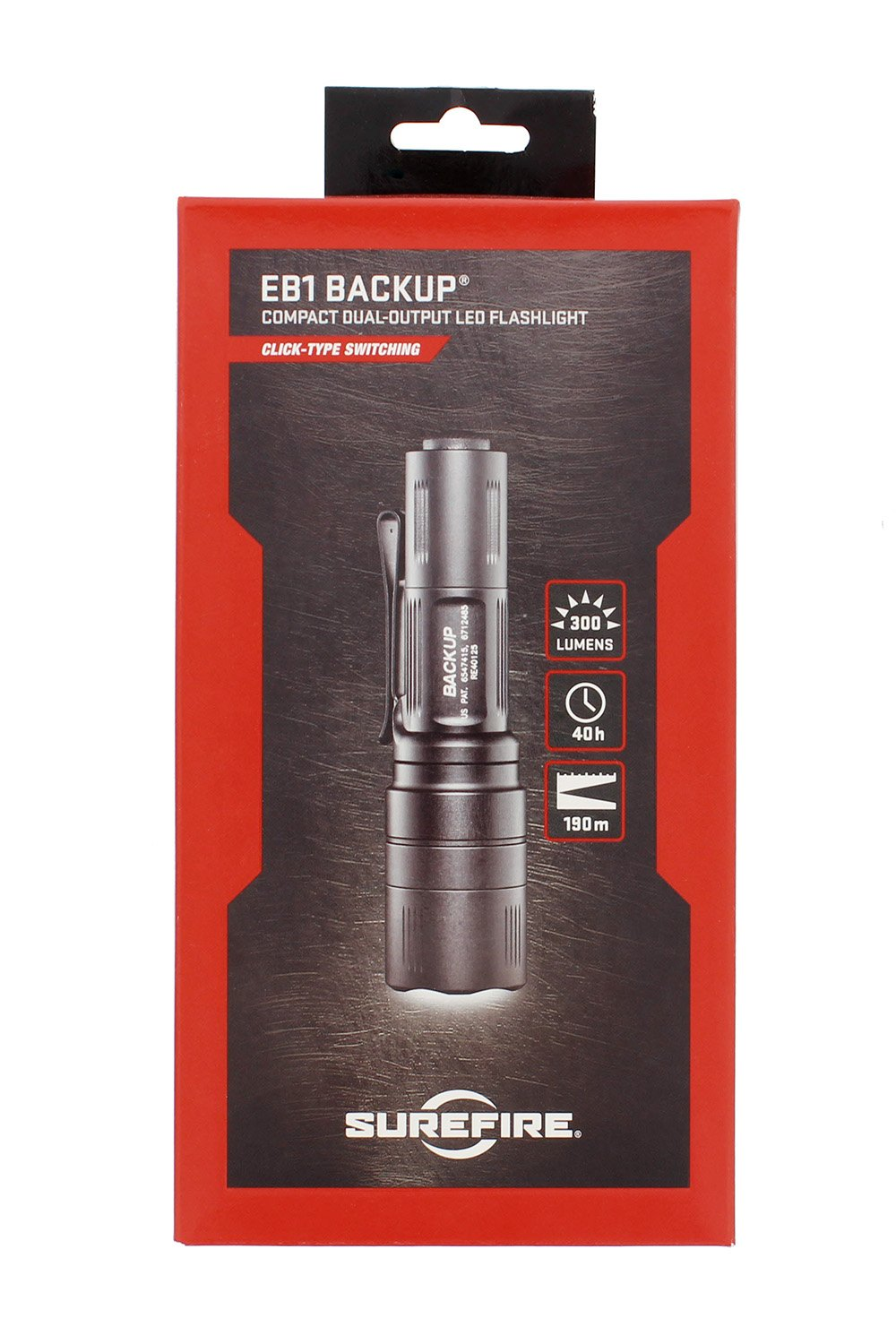 Surefire EB1C-B-BK Backup Dual-Output LED Flashlight