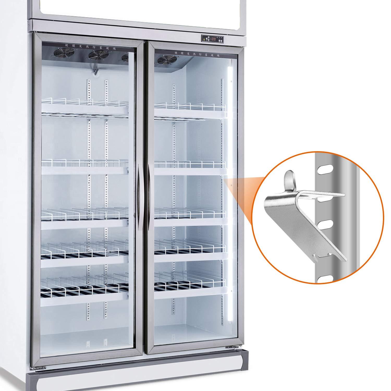 10 Pcs HK Freezer Shelf Clip,Fridge Cooler Shelf,Replacement Shelf Square Buckles Clips,Stainless Steel Hooks Shelf Clip for Refrigerator