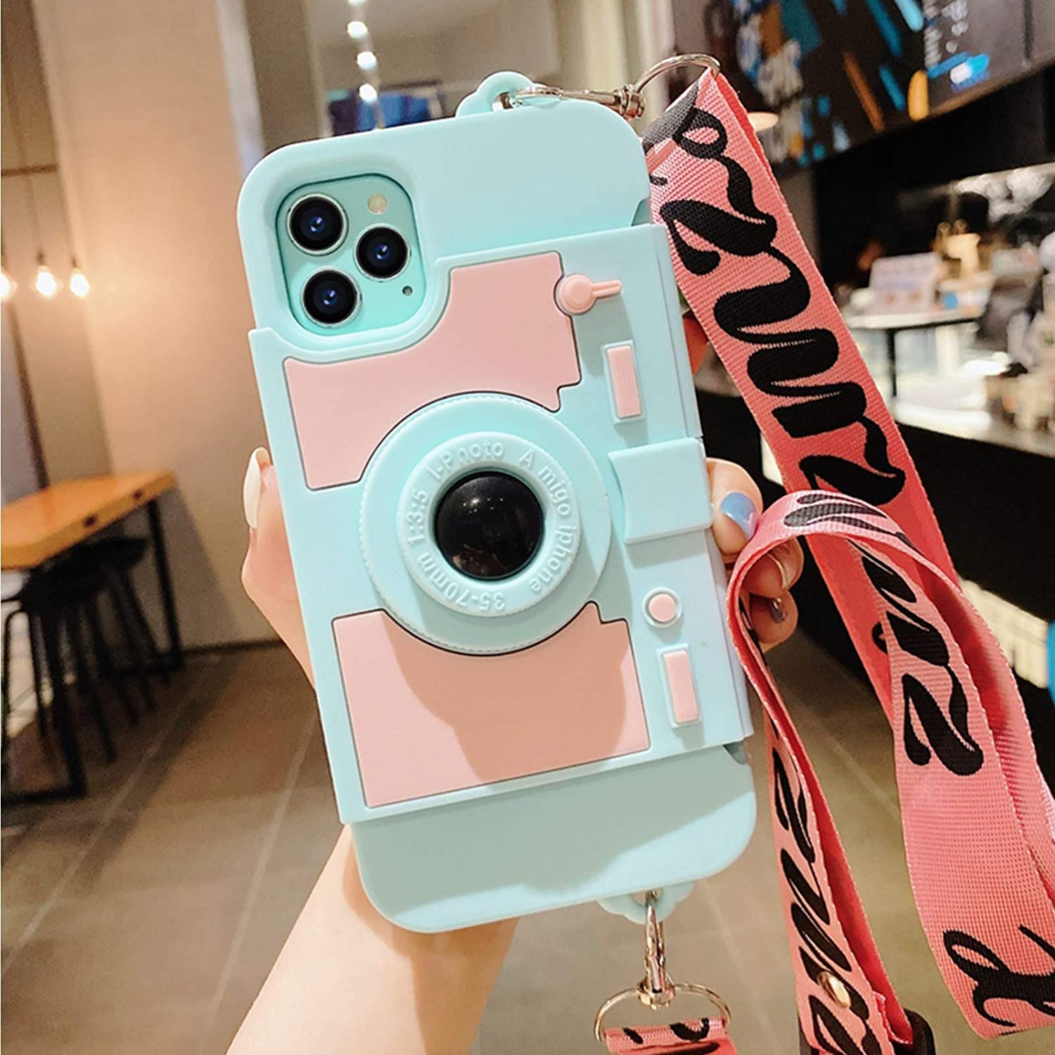 Compatible with iPhone 12 Pro Case iPhone 12 Cute 6.1 Card Wallet Holder for Women Girls Cool Camera Design Kickstand Girly Phone Case 3D Silicone Cover with Crossbody Strap Lanyard for Blue