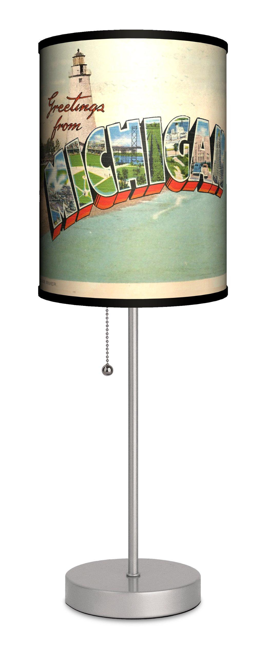Travel - Michigan Postcard Sport Silver Lamp