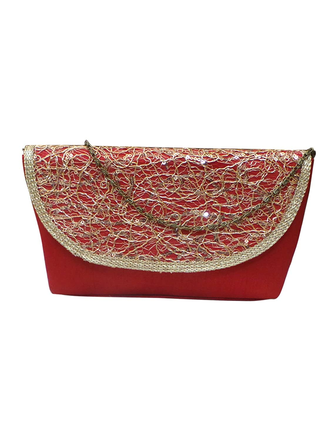 Bhamini Red Raw Silk Clutch with Golden Zari Maze
