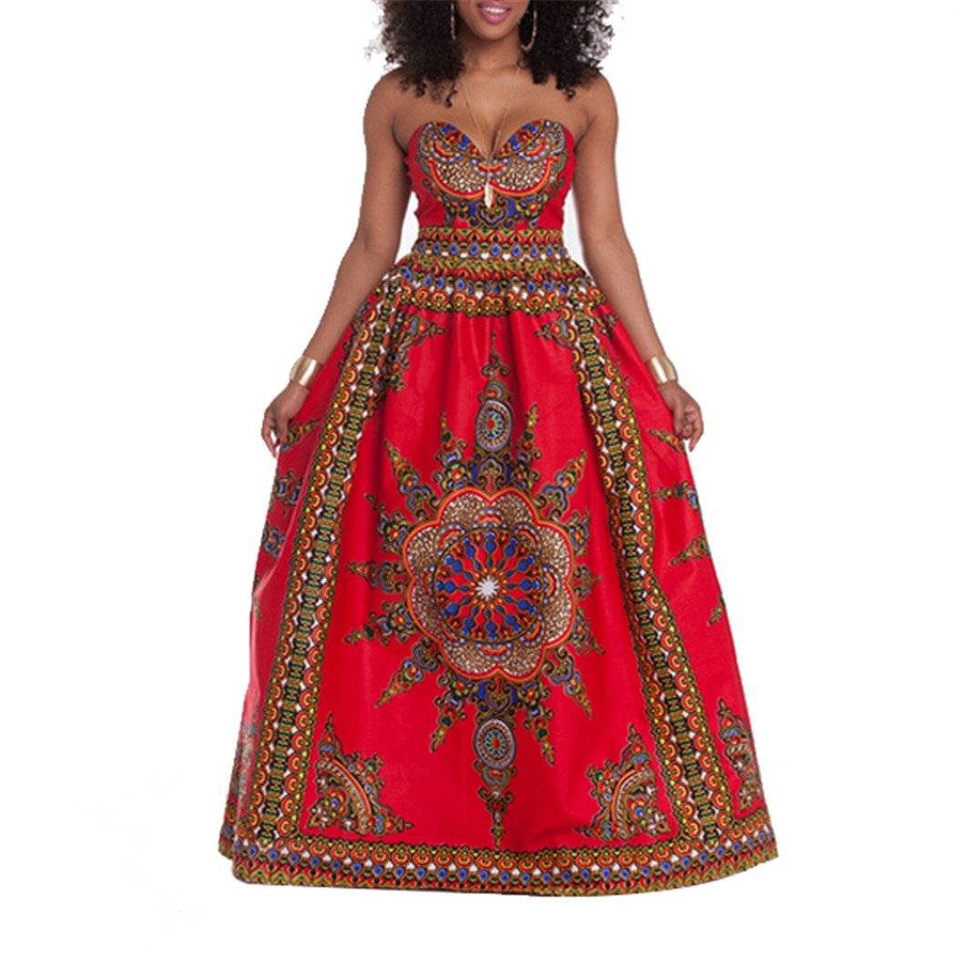 Moxeay Sexy Off Shoulder Wrapped Chest African Dashiki Print KaftanLong Dress (L, Red)
