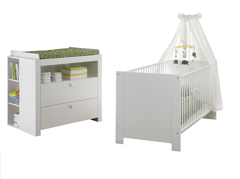 trendteam BZO Babyzimmer weiß, Set 2-teilig mit 2 Anstellregalen für Wickelkommode