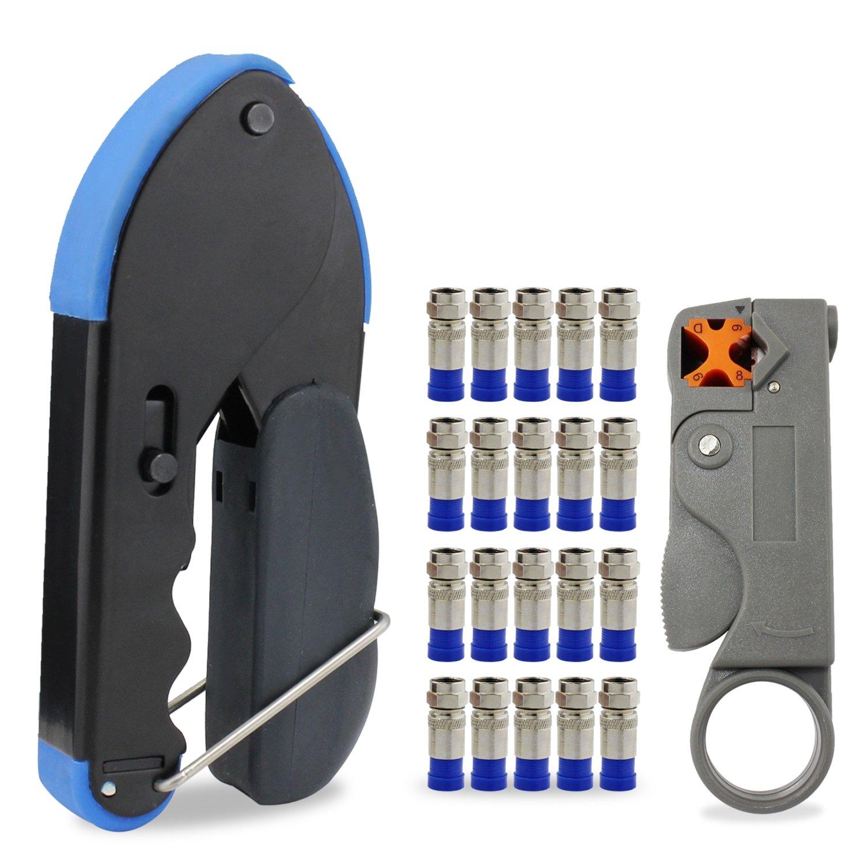 Para la compresió n del cable de herramientas para conectores de montaje RG6 Stripper Con 20x conectores F de compresió n ESUMIC CRIMP-BLUE-KIT