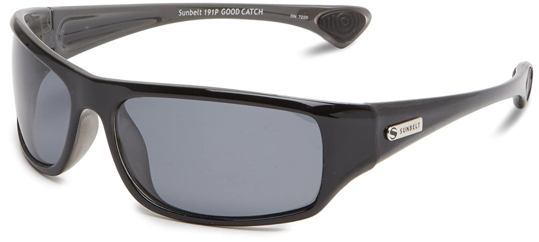 amazon com sunbelt men u0027s good catch square sunglasses shiny black