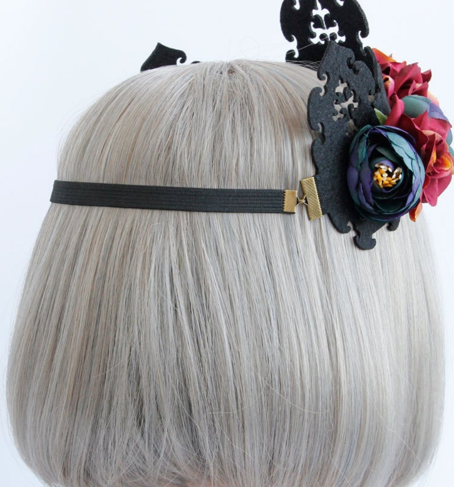 Donne Floreale Copricapo Maid Gotico Fascia Cosplay Lolita Nero Fascia per capelli Cerchio Ragazza Trucco Partito Copricapo Signore Vintage Rosa Copricapo Halloween Masquerade Costume Fancy Festival