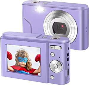IEBRT Ultra HD Digital Camera,1080P Mini Kid Camera Vlogging Camera Video Camera LCD Screen 16X Digital Zoom 36MP Rechargeable Point and Shoot Camera for Compact Portable Kids Teens Gifts(Purple)