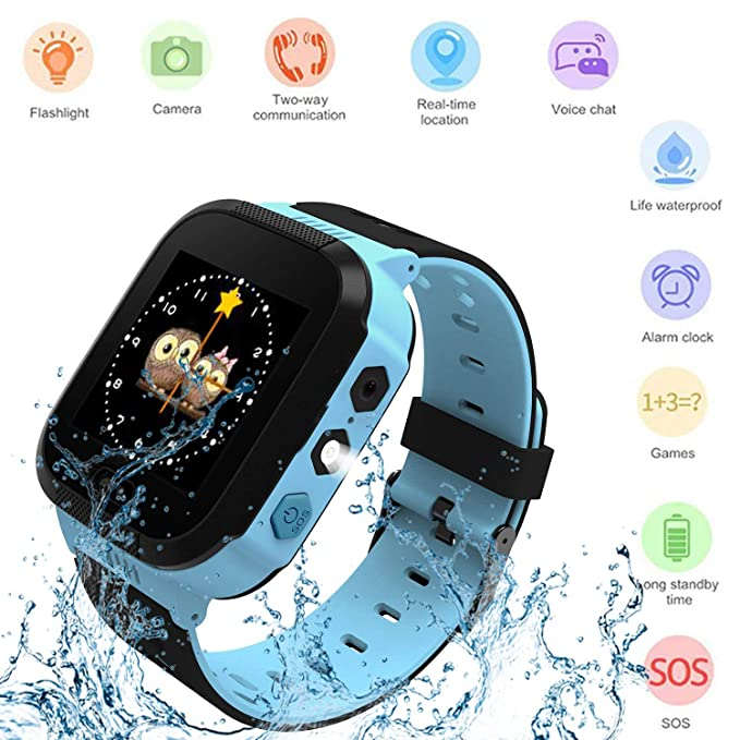 Kids Smartwatch, Waterproof GPS, Child Watch Phone, Camera Watch, SOS Alarm  Clock Camera Flashlight Phone, Water-Resistant Smartwatches Phone(Blue)