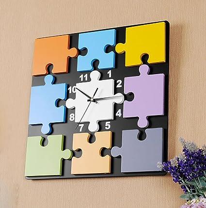 Reloj de pared para habitaciones de niños moda personalidad creativa Puzzle Clock reloj digital Mute dormitorio