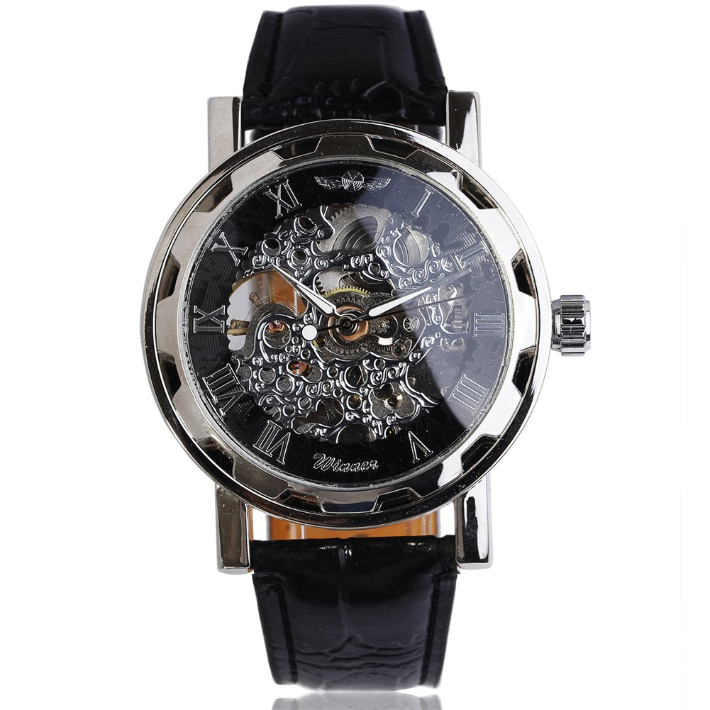 bc42963a368 Amazon.com  2017 New WINNER Fashion Men Automatic Mechanical Leather Strap  Watches With Roman Carving Skeleton Dial Formal Relogio Masculino  Watches