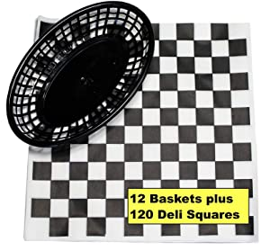 12 Black Plastic Oval Food/Burger Baskets plus 120 Checkered Deli Paper Liners. Restaurant/Food Tray Basket Sets for Barbecues, Picnics, Parties, Kids Meals, Outdoors.