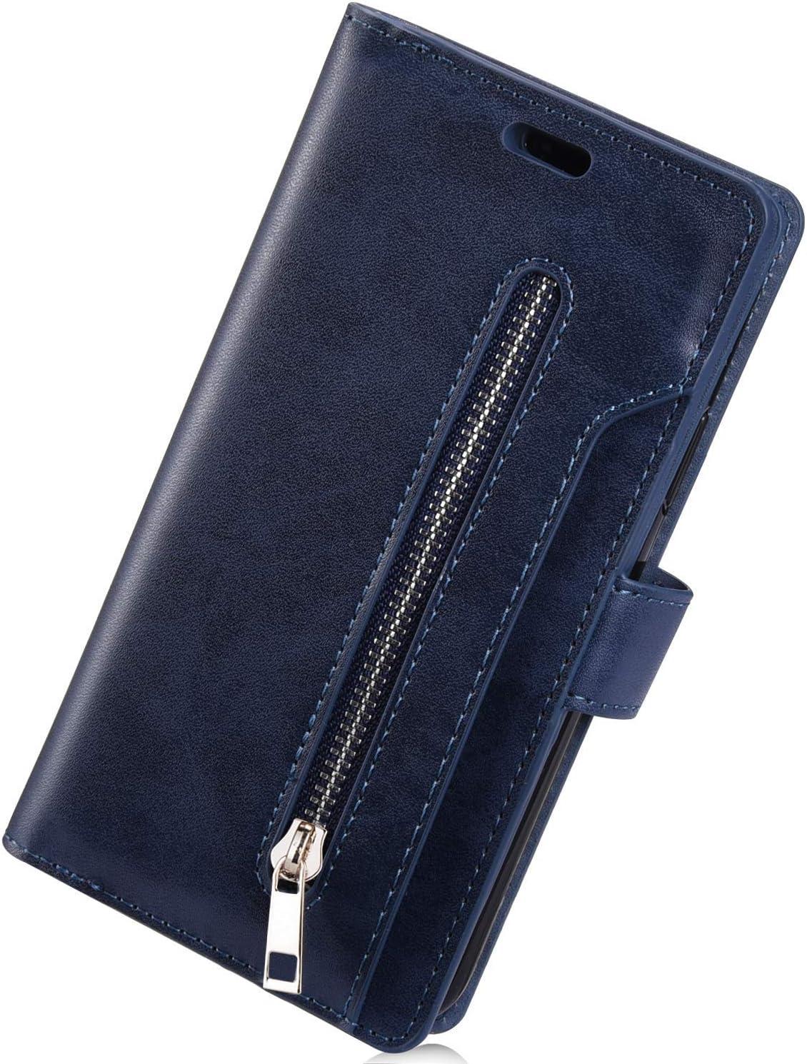 Herbests Compatibles con Samsung Galaxy Note 10 Plus Funda con Tapa Carcasa de Cuero Cremallera Multifunci/ón Wallet Cover con 9 Ranuras para Tarjetas Estuche para Hombre Mujer Case,Azul Oscuro