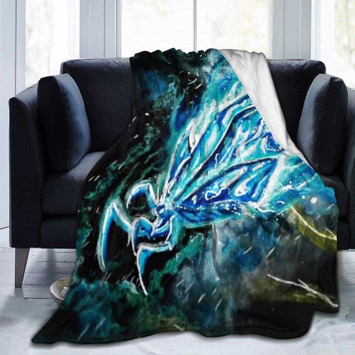 BLANKNTC Mantas de Cama de vellón Personalizadas, Monstruos Godzilla Mothra 2019 Fan Painting Art Mantas navideñas, antiestático, Ultra Acogedor, Linda Manta, Ropa de Cama para Ancianos S