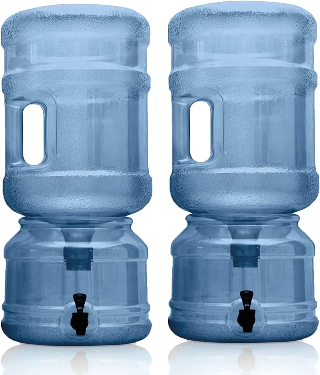 Set of 2 - BPA FREE Water Dispenser Base with Spigot & 5 Gallon Water Jug Set - Transparent Blue - For Countertops or Stands - 2 Complete Sets