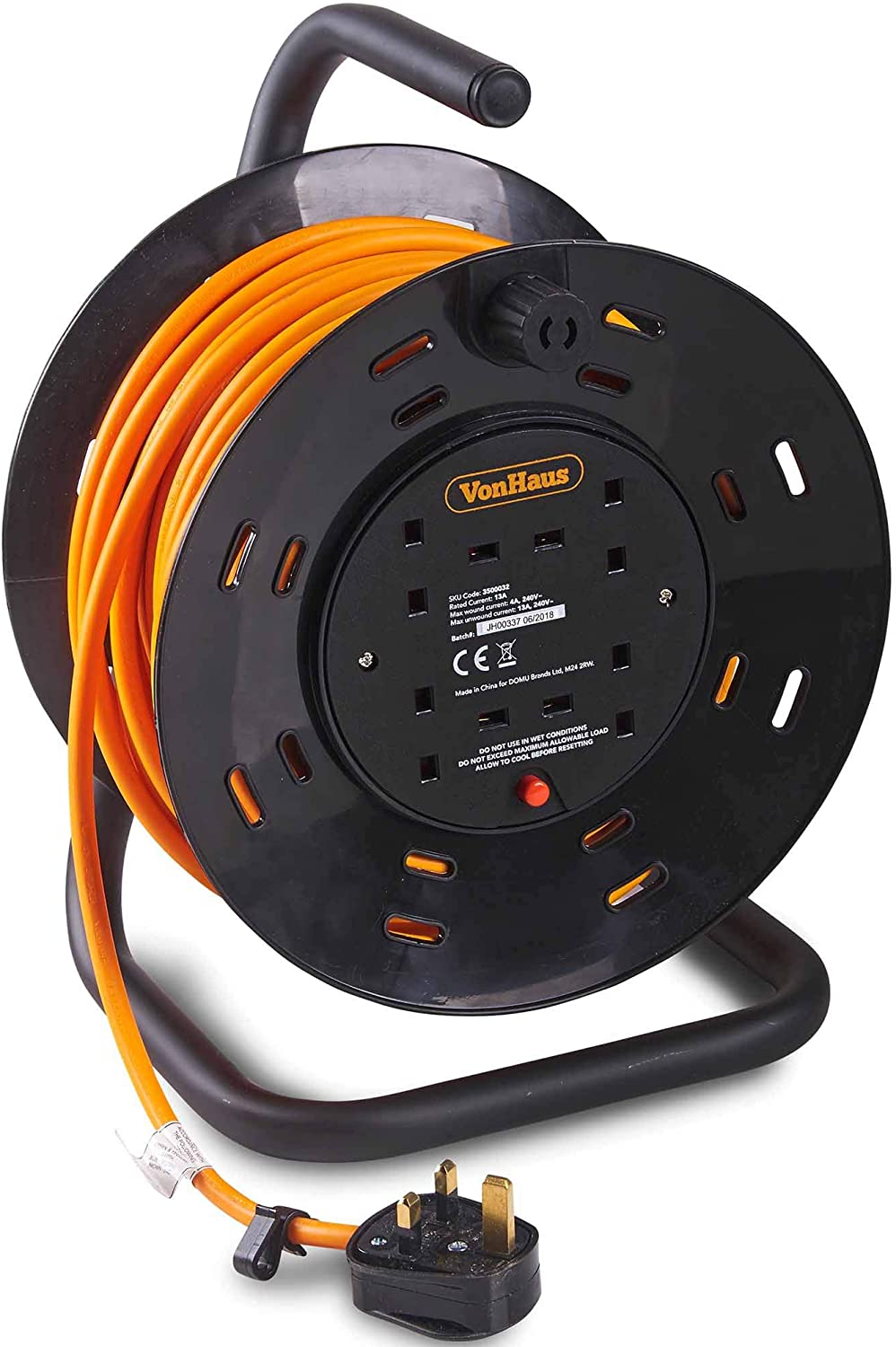 Vonhaus 10 m Câble d/'Extension Reel 4 Way Socket Extension Cable 13 A