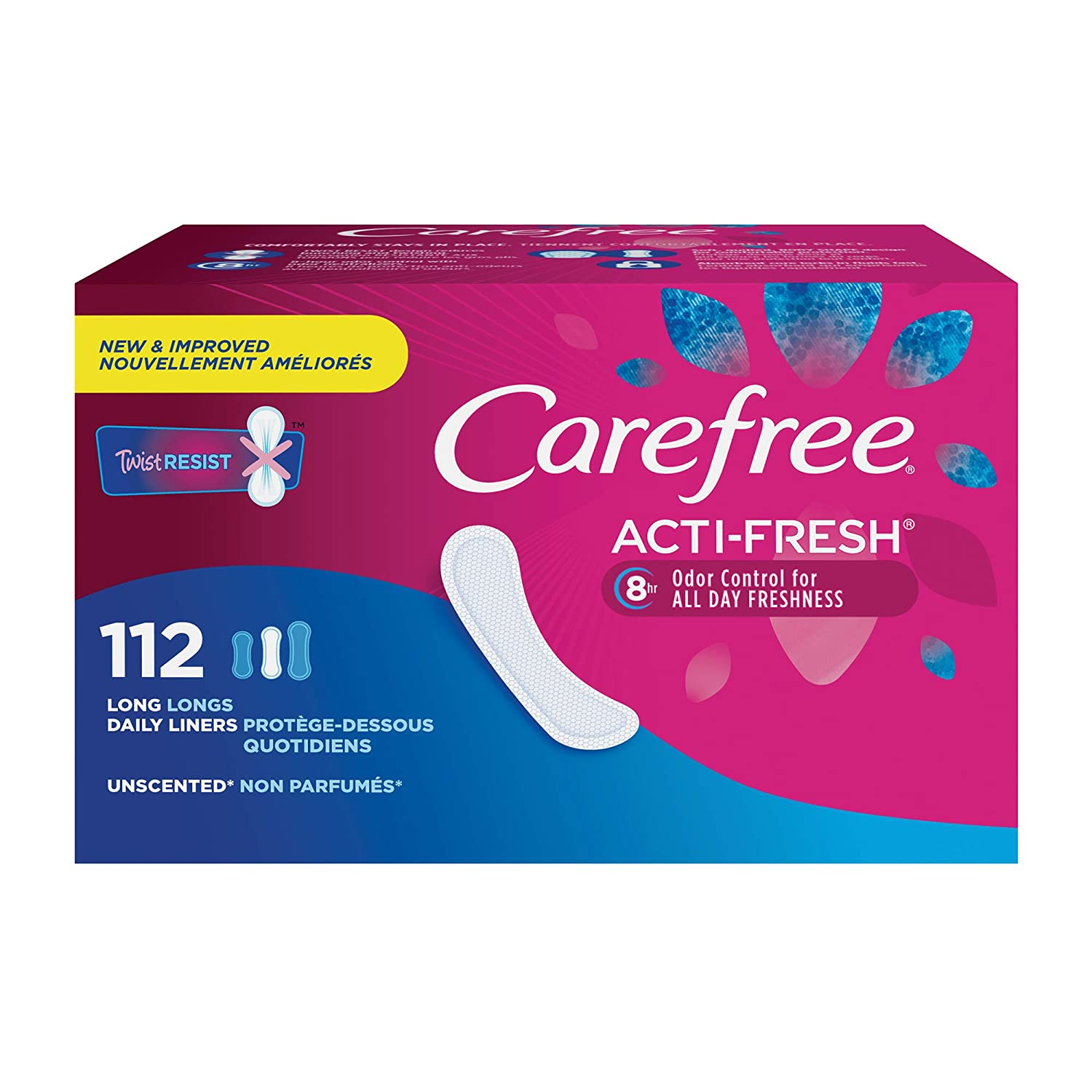 Carefree Acti-Fresh Body Shaped Panty Liners, Flexible Protection That Molds to Your Body, Long, 112 Count