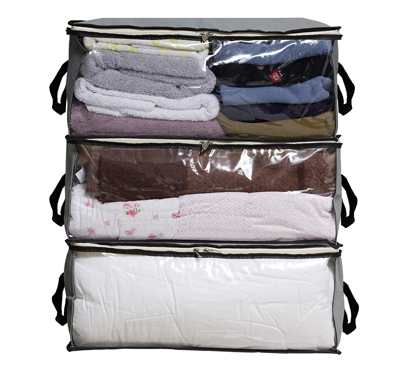 SLEEPING LAMB Storage Bag Organizers Pillows Clothing Storage Containers for Clothes Closet Sweater 3 Piece Set Bedding in Bedroom Grey Blanket