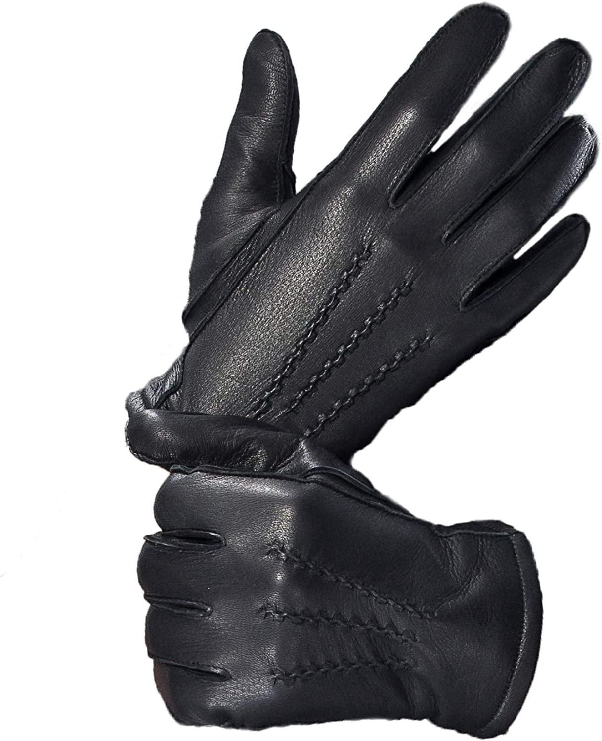 YISEVEN Mens Touchscreen Lambskin Leather Gloves Plain Design Wool Lined