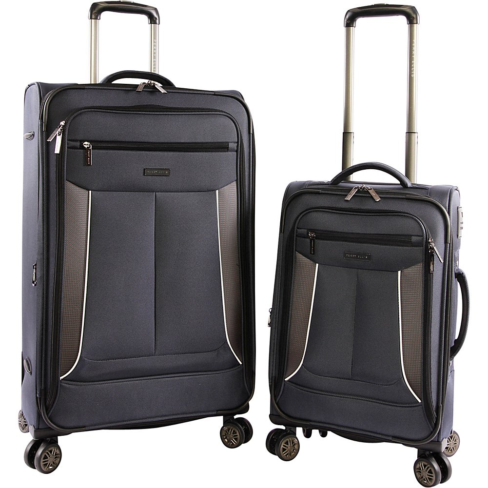 Perry Ellis Luggage Viceroy 2 Piece Set Expandable Suitcase with Spinner Wheels, Navy
