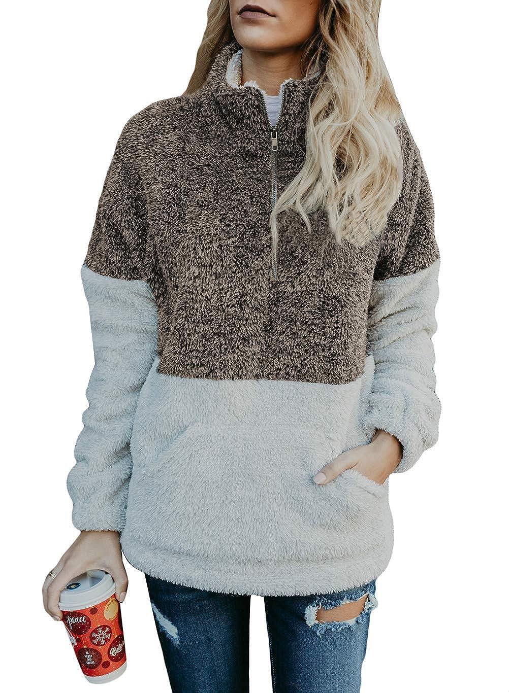 Womens Long Sleeve Zip up Sherpa Pullover Fuzzy Sweater Sweatshirt Hoodies Oversized Fleece Coat Pockets 85145