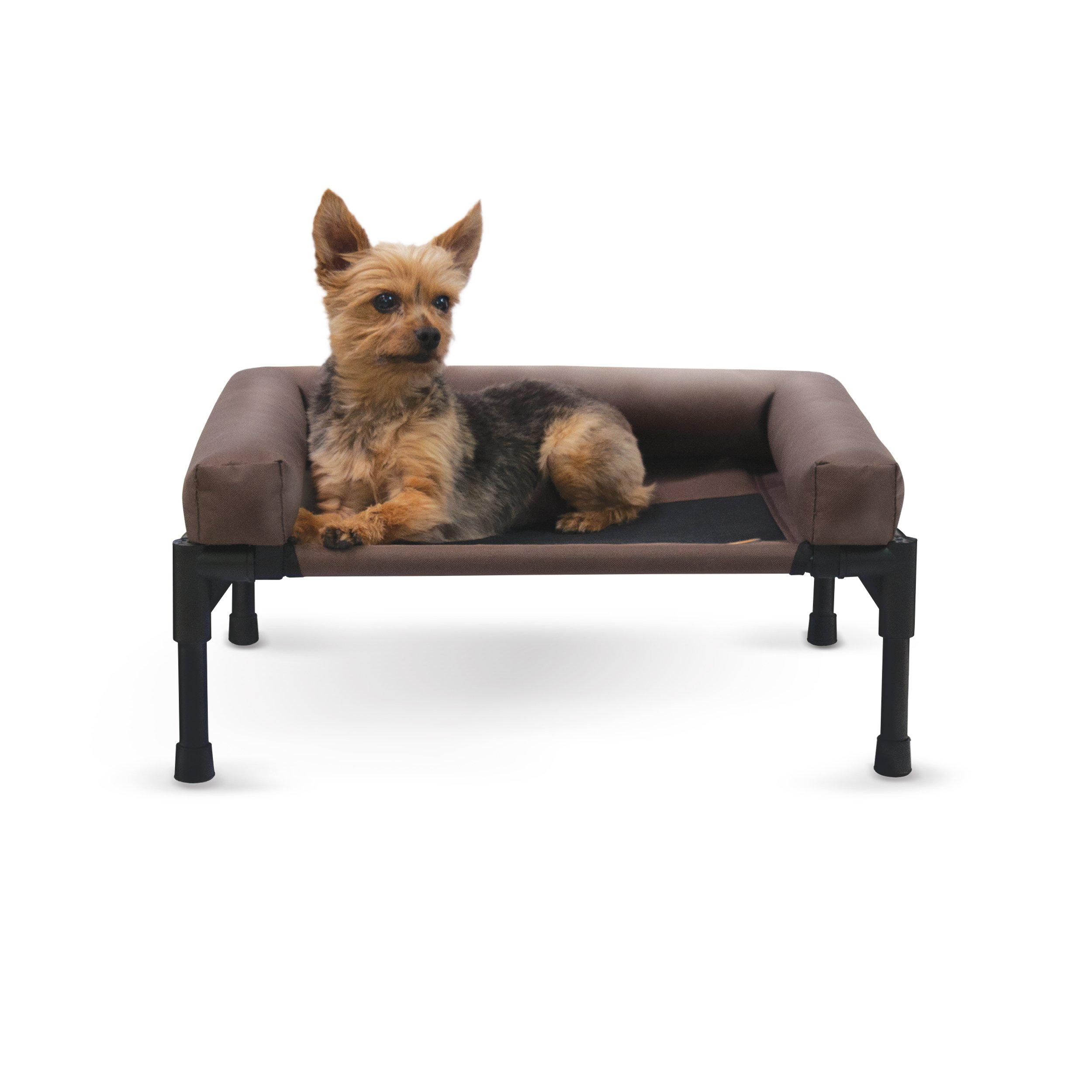 K&H Pet Products Original Bolster Pet Cot Elevated Pet Bed Small Chocolate/Mesh 17'' x 22'' x 7''