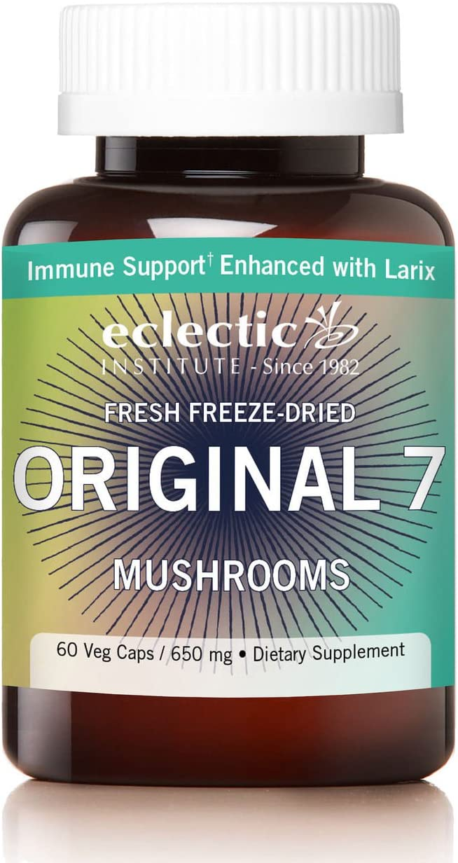 Eclectic Original 7 Mushrooms Freeze Dried Vegetables, Green, 60 Count
