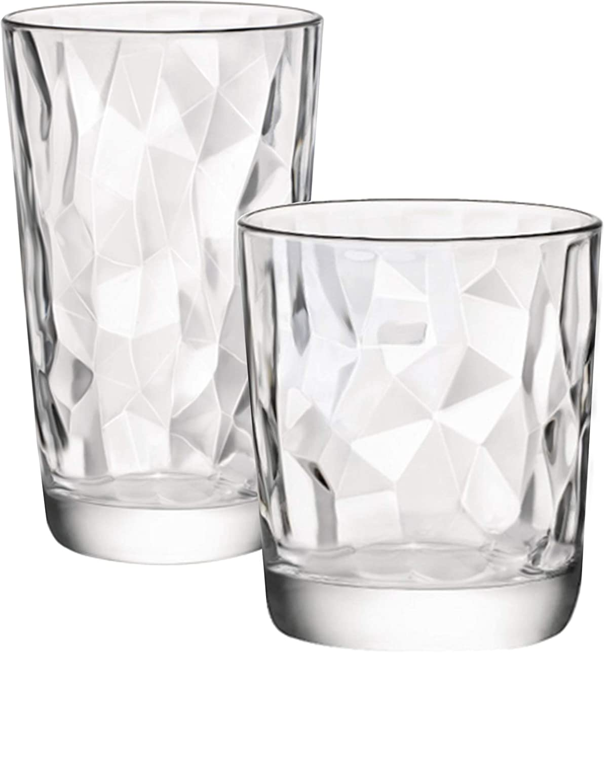 Circleware 40158 Cabrini Set of 12 Drinking Glasses & Whiskey Cups Glassware for Water, Beer, Juice, Ice Tea Beverage, 6-15.7 oz & 6-12.5 oz