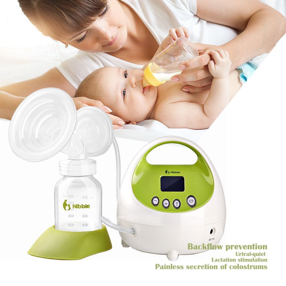 Nibble Comfort Electric Single Breast Pump with Rechargeable Battery - 10 Levels Suction Power Adjustable BPA-Free