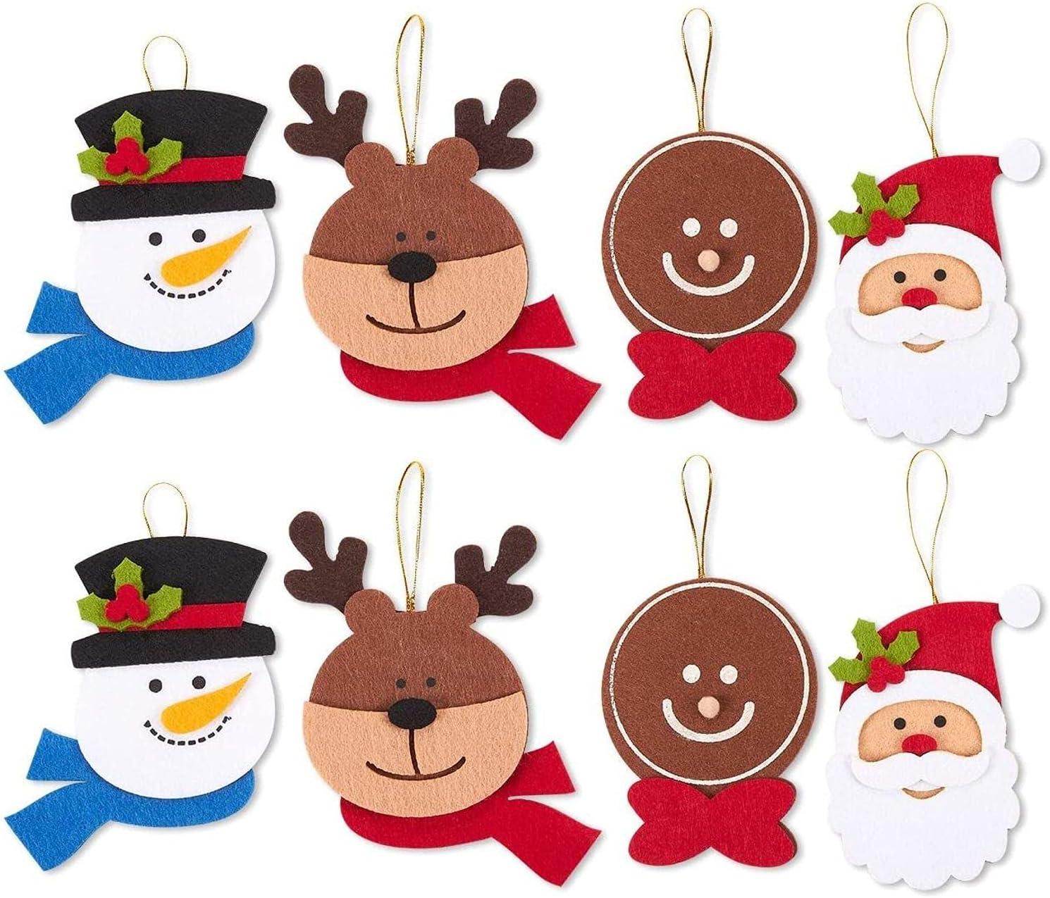 Felt Christmas Ornament Faces, Reindeer, Santa Claus, Gingerbread Man, Snowman (8 Pack)