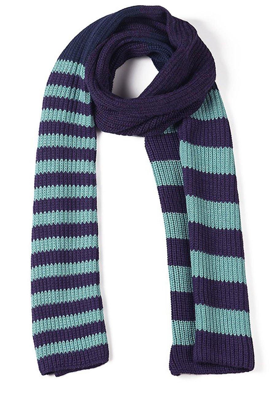 Varsity Striped 100% Baby Alpaca Tri-color Scarf - Muffler Like No Other (Turquoise / Eggplant / Navy) by Incredible Natural Creations from Alpaca - INCA Brands