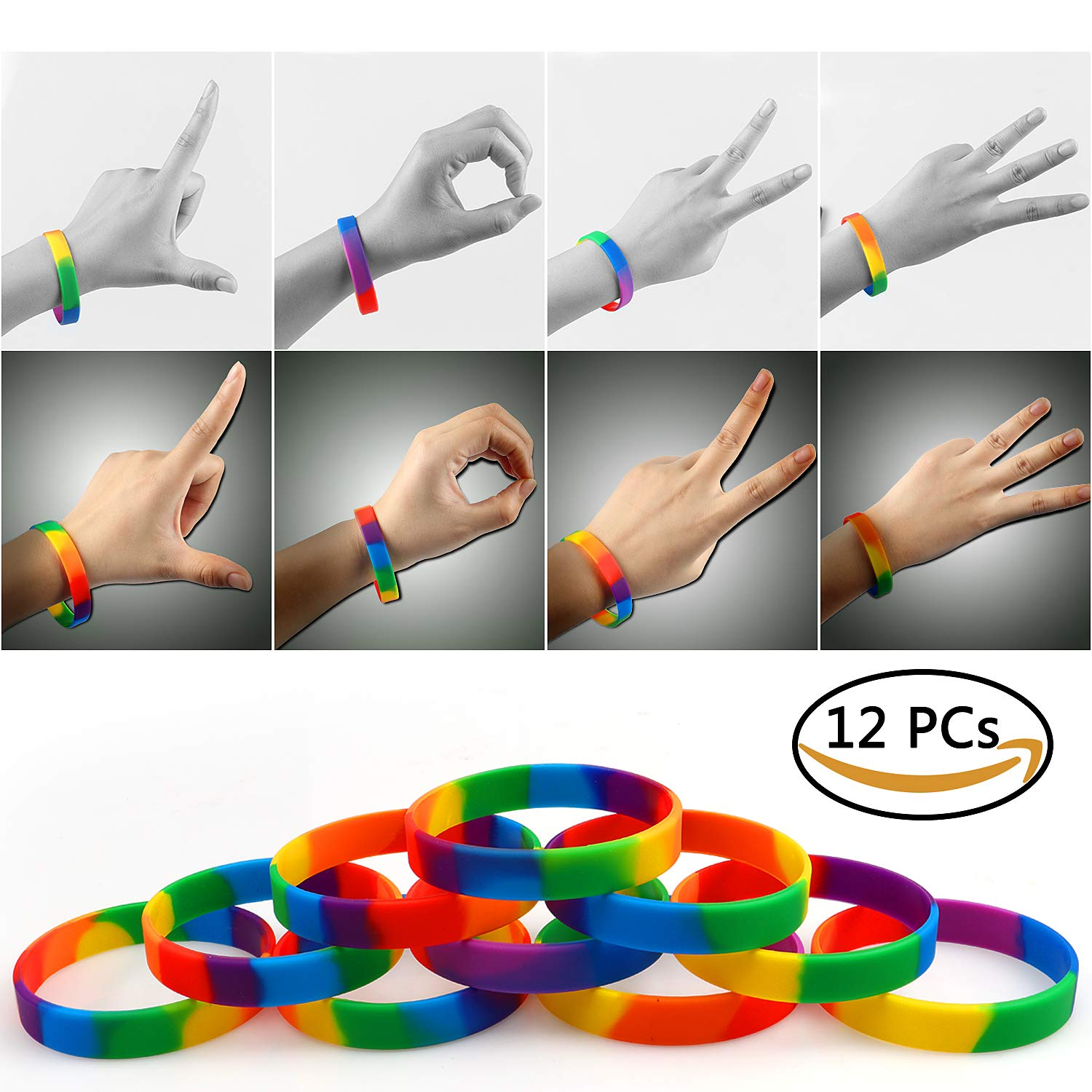 VAMEI 12pcs Gay Pride Rainbow Wristbands 6 Colors LGBT Party Silicone Rubber Bracelets Yahweh's Covenant Wristbands TZGJSH00
