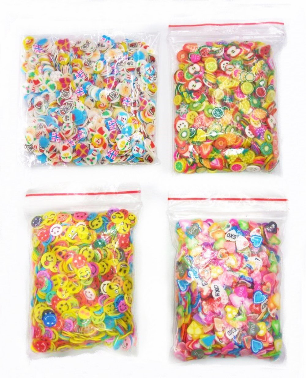 4000 Pcs 3D Polymer Fimo Slices Slime Supplies Charms Slime Making Kit DIY Nail Art Decoration Arts Crafts(Fruit,Smile face,Love Heart,Father Christmas Pattern)-1000Pcs/Pack Jimess