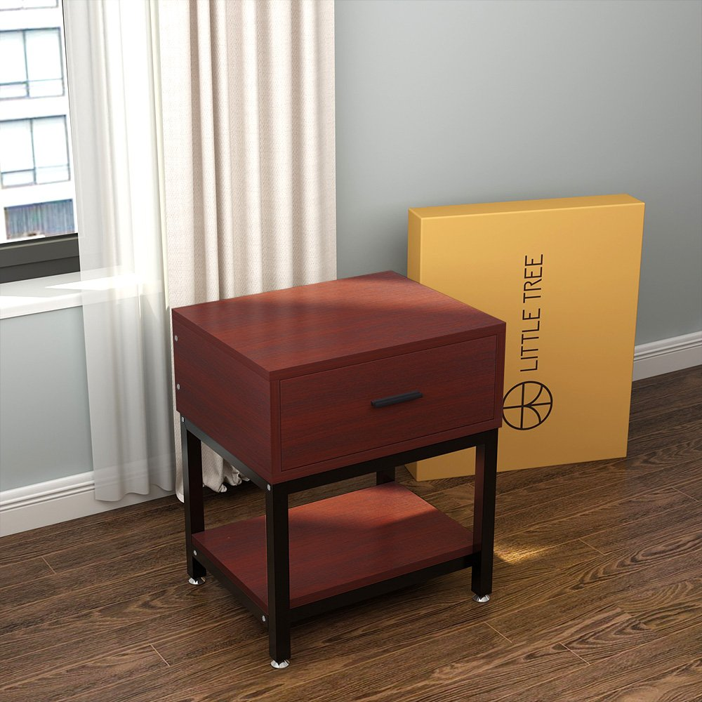 Night Stands, LITTLE TREE Side End Table with Drawer and Shelf for Bed Room Living Room, Beside Table with Storage, Metal Frame & Wood, Cherry by LITTLE TREE (Image #9)
