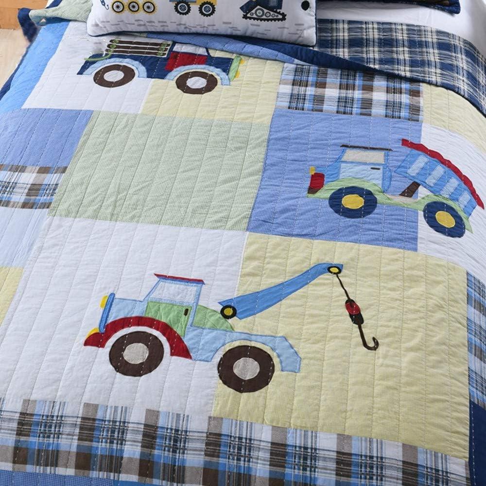 Satbuy 100/% Cotton Kids Quilt Bedspread Set Twin Size for Boys,Trucks Patchwork Comforter Toddler Teens Bedding Sets 2-Piece 1 Quilt 1 Pillowcase