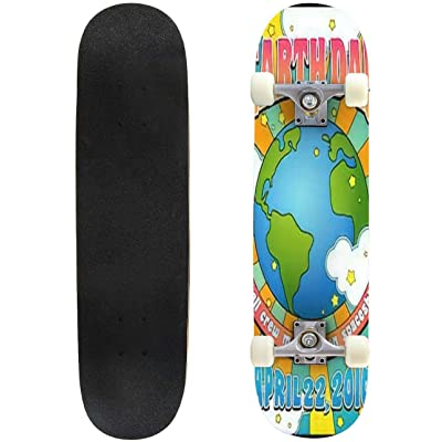 Classic Concave Skateboard Earth Day Poster Banner Design in 1960s Psychedelic Style Longboard Maple Deck Extreme Sports and Outdoors Double Kick Trick for Beginners and Professionals : Sports & Outdoors