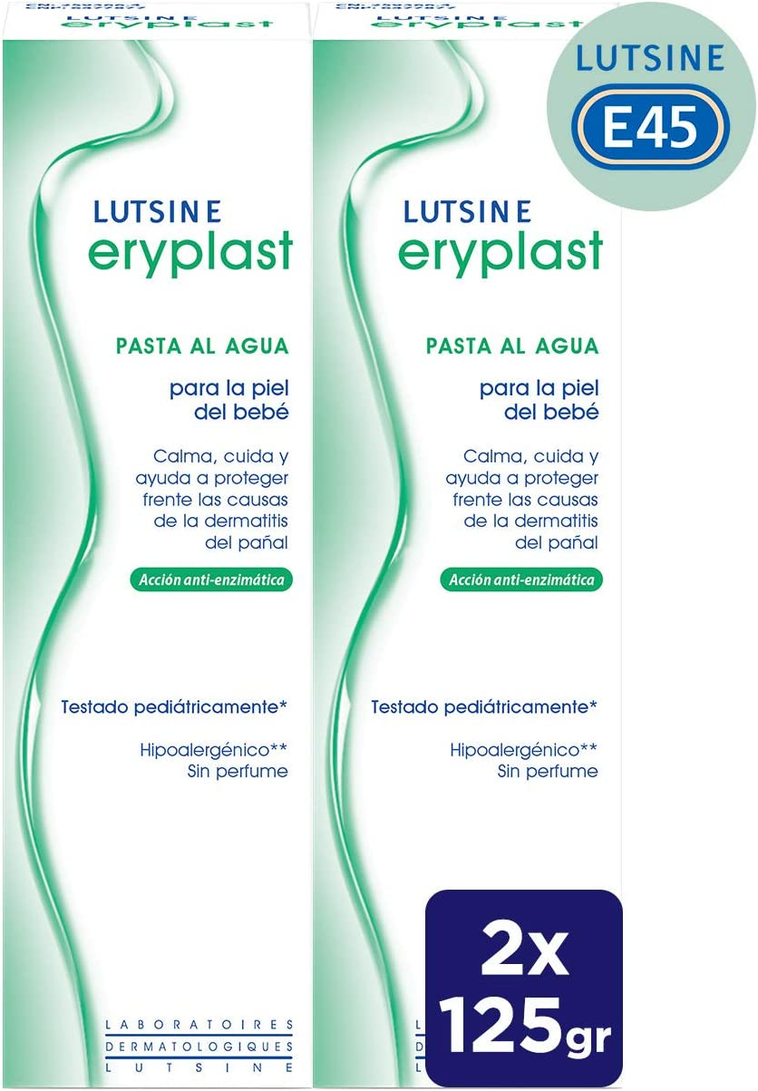 Eryplast Lutsine E45 - Pasta al Agua para la Piel del Bebé - Crema Pañal 2 x 125 gr