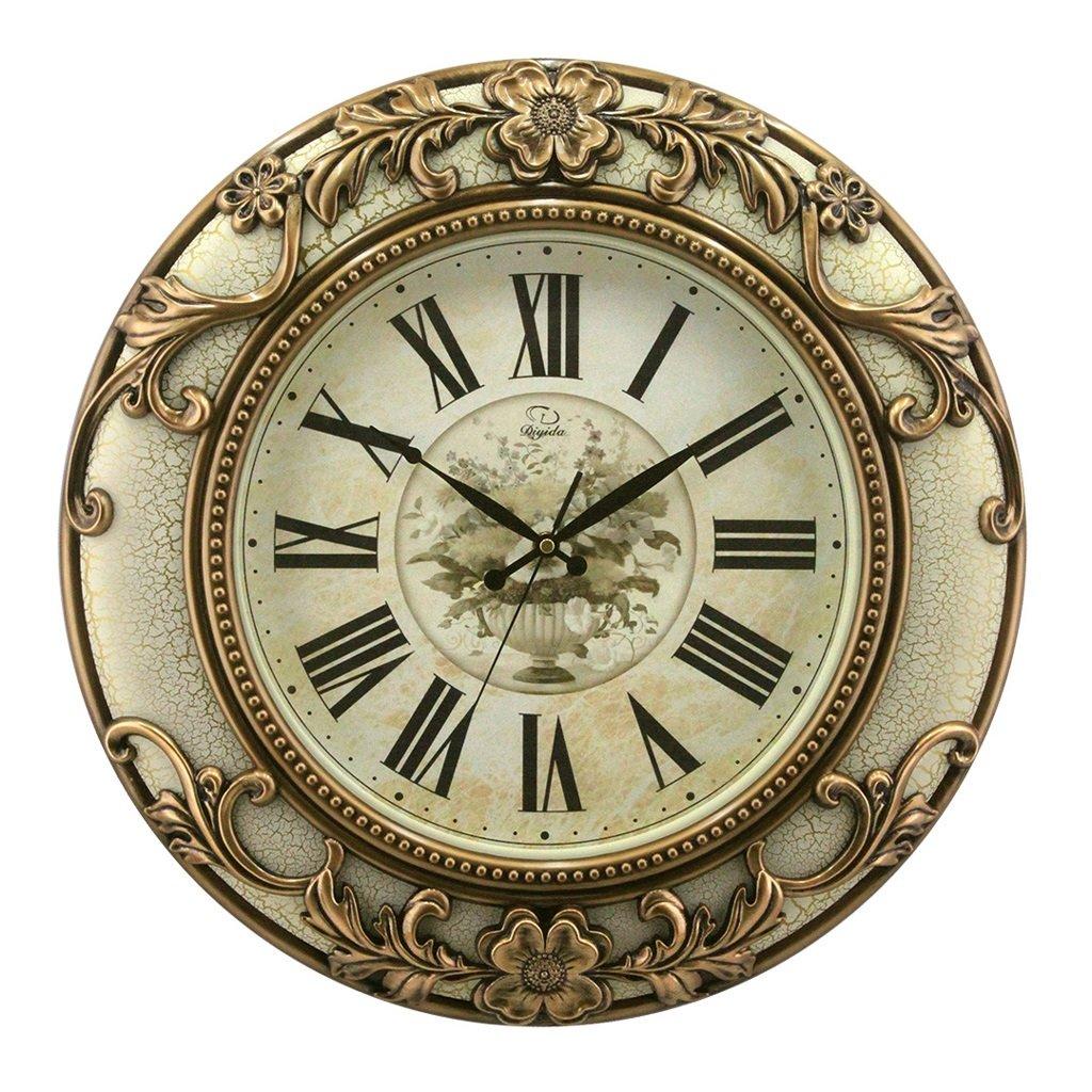 壁時計 20インチの丸い壁の時計ヨーロッパのリビングルームミュートモダンな創造的なヴィンテージウォールクロック大きな水晶(48 * 48 * 7センチメートル) (色 : 白) B07FNN3LXD 白 白